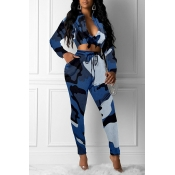 Lovely Casual Camouflage Printed Blue Two-piece Pa
