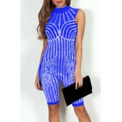 Lovely Sexy Hot Drilling Decorative Blue One-piece