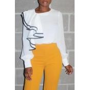 Lovely Trendy O Neck Patchwork White Blouse