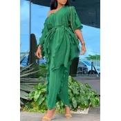 Lovely Casual V Neck Ruffle Design Green Ankle Len