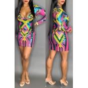 Lovely Trendy Deep V Neck Multicolor Mini Dress