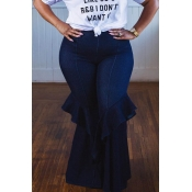 Lovely Casual Flounce Design Deep Blue Plus Size J