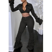 Lovely Casual Ruffle Design Black Two-piece Pants