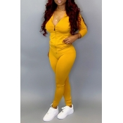 Lovely Casual Hooded Collar Yellow Two-piece Pants