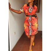 Lovely Leisure Printed Red Knee Length Dress(With