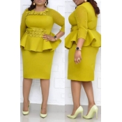 Lovely Temperament Patchwork Yellow Knee Length Pl