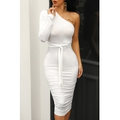 Lovely Casual One Shoulder Lace-up White Knee Leng