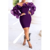 Lovely Trendy Off The Shoulder Flounce Design Purp