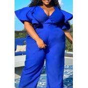 Lovely Casual Flounce Design Blue Plus Size Jumpsu