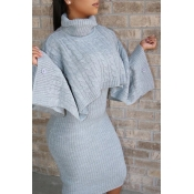 Lovely Casual Turtleneck Grey Two-piece Skirt Set