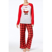 Lovely Christmas Day Printed Red Two-piece Pants S