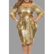 Lovely Chic Flounce Design Gold Plus Size Mini Dre