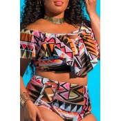 Lovely Hollow-out Multicolor Plus Size Two-piece S
