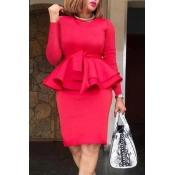 Lovely Sweet Flounce Red Knee Length Dress