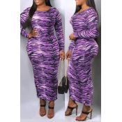 Lovely Casual Printed Purple Ankle Length Dress