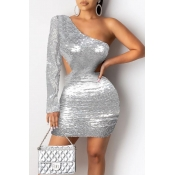 Lovely Sexy One Shoulder Silver Mini Dress