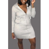 Lovely Casual Hooded Collar Grey Mini Dress