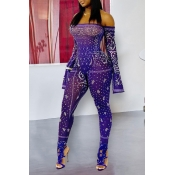 Lovely Trendy See-through Purple One-piece Jumpsui