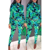 Lovely Trendy Printed Skinny Green One-piece Jumpsuit