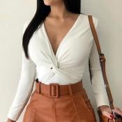 Lovely Trendy Cross-over Design White T-shirt