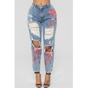 Lovely Trendy Hollow-out Printed Sky Blue Jeans