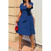 Lovely Casual V Neck Asymmetrical Blue Knee Length
