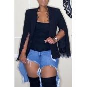 Lovely Casual Cloak Design Black Blazer