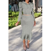 Lovely Casual Hooded Collar Flounce Grey Two-piece