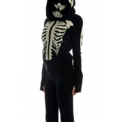 Lovely Halloween Hooded Collar Skull Printed Black