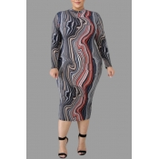 Lovely Casual Printed Grey Knee Length Plus Size D