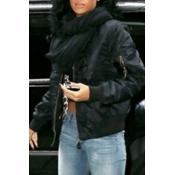 Lovely Casual Zipper Design Black Jacket