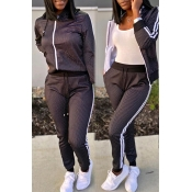 Lovely Casual Hooded Collar Black Two-piece Pants