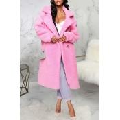 Lovely Trendy Winter Turn-down Collar Pink Teddy C