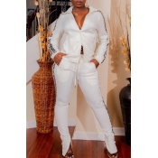 Lovely Casual Patchwork White Two-piece Pants Set