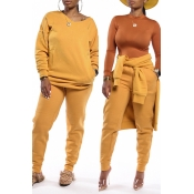 Lovely Casual Basic Yellow Two-piece Pants Set