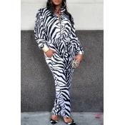 Lovely Leisure Zebra Stripe One-piece Jumpsuit