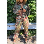 Lovely Casual Camouflage Printed Short Coat