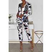 Lovely Trendy Printed Multicolor Two-piece Pants S