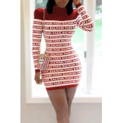 Lovely Casual Letter Printed Wine Red Mini Dress