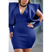 Lovely Temperament V Neck Royal Blue Mini Evening Dress