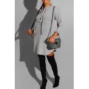 Lovely Leisure Bandage Design Grey Mini Dress