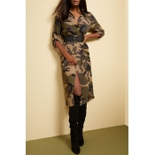 Lovely Leisure V Neck Camouflage Printed Mid Calf