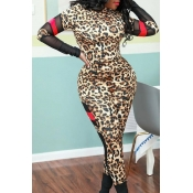 Lovely Trendy Leopard Printed Brown Two-piece Pant