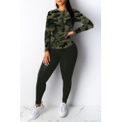 Lovely Casual Basic Camouflage Printed Two-piece P