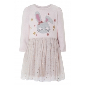Lovely Sweet Patchwork Light Pink Knee Length Girl