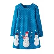 Lovely Christmas Day Printed Sky Blue Knee Length