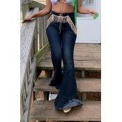 Lovely Casual Tassel Design Dark Blue Jeans