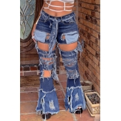 Lovely Casual Hollow-out Blue Jeans(Without Belt)