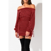 Lovely Casual Hot Drilling Decorative Wine Red Min