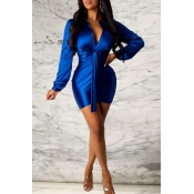 Lovely Sweet Ruffle Design Royal Blue Mini Evening Dress